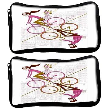 Snoogg Pack De 2 Tela espejo Ciclismo 2557 estudiante pluma lápiz caso bolsa de cosméticos bolsa de monedero: Amazon.es: Oficina y papelería