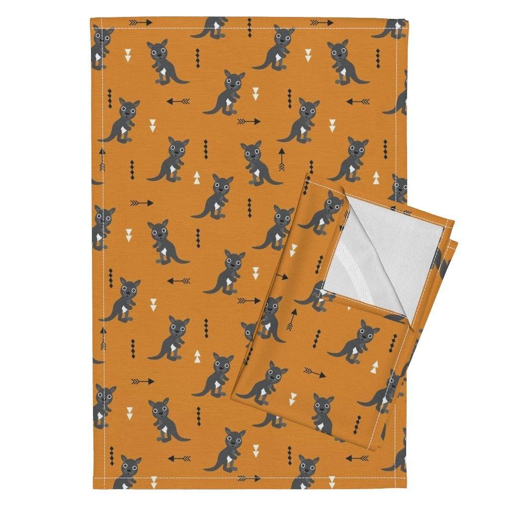Roostery Kangaroo Geometric Arrow Australia Kids Animal Retro Tea Towels Hot Orange Adorable Geometric by Littlesmilemakers Set of 2 Linen Cotton Tea Towels