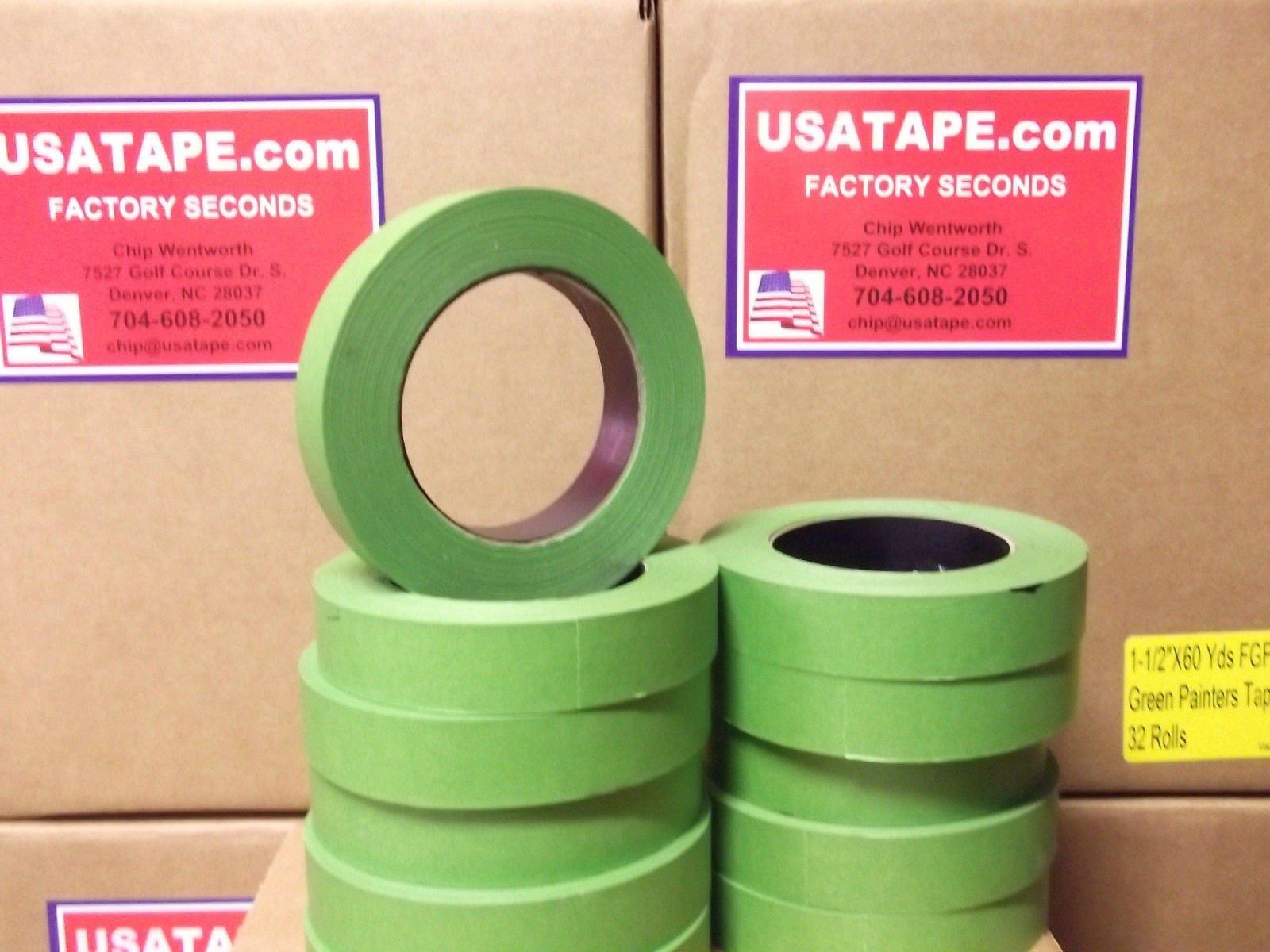 Lot Of 48 Rolls 1'' X60 Yrd Green Painters Masking Tape