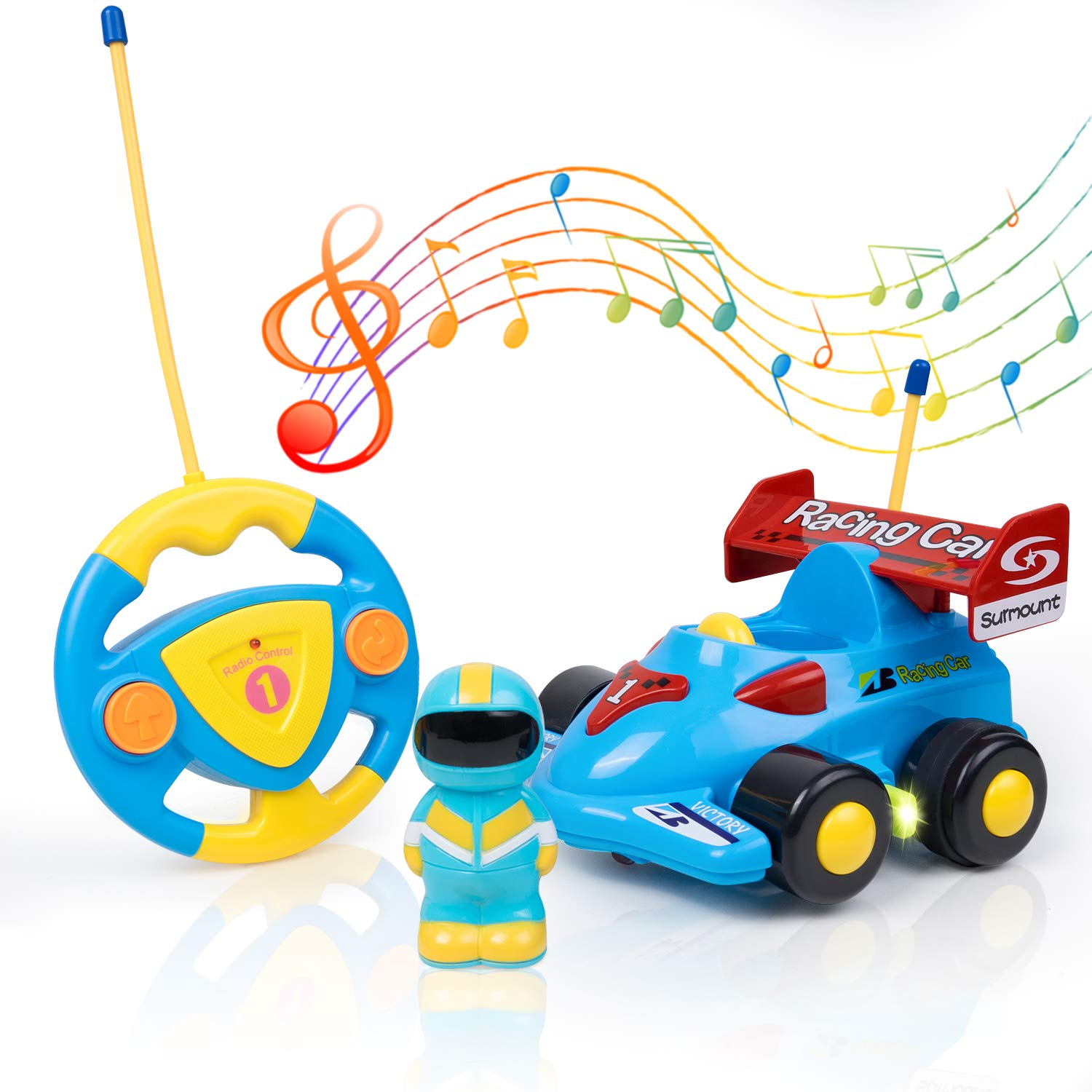SGILE Race Car Remote Control Train Toy, Kids Birthday Gift Present for Toddlers Kids,Blue