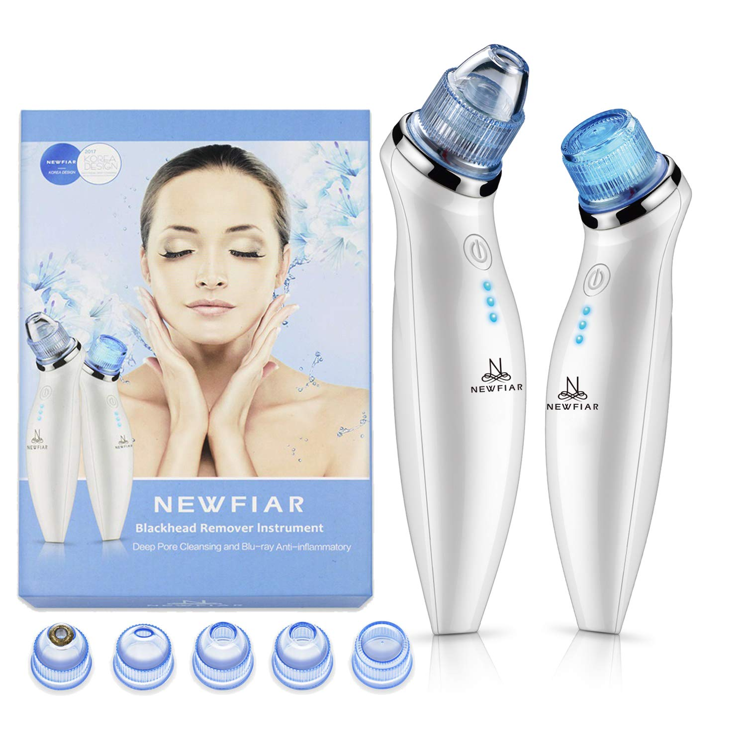 [2018 UPGRADED] Comedo Suction, NEWFIAR X6 Portable Blackheads Removal Tool, Pore and Blackhead Vacuum for Skin Care, Blu-ray Design and 5 Interchangeable Heads, USB Charging (Color: White) Padia Concept