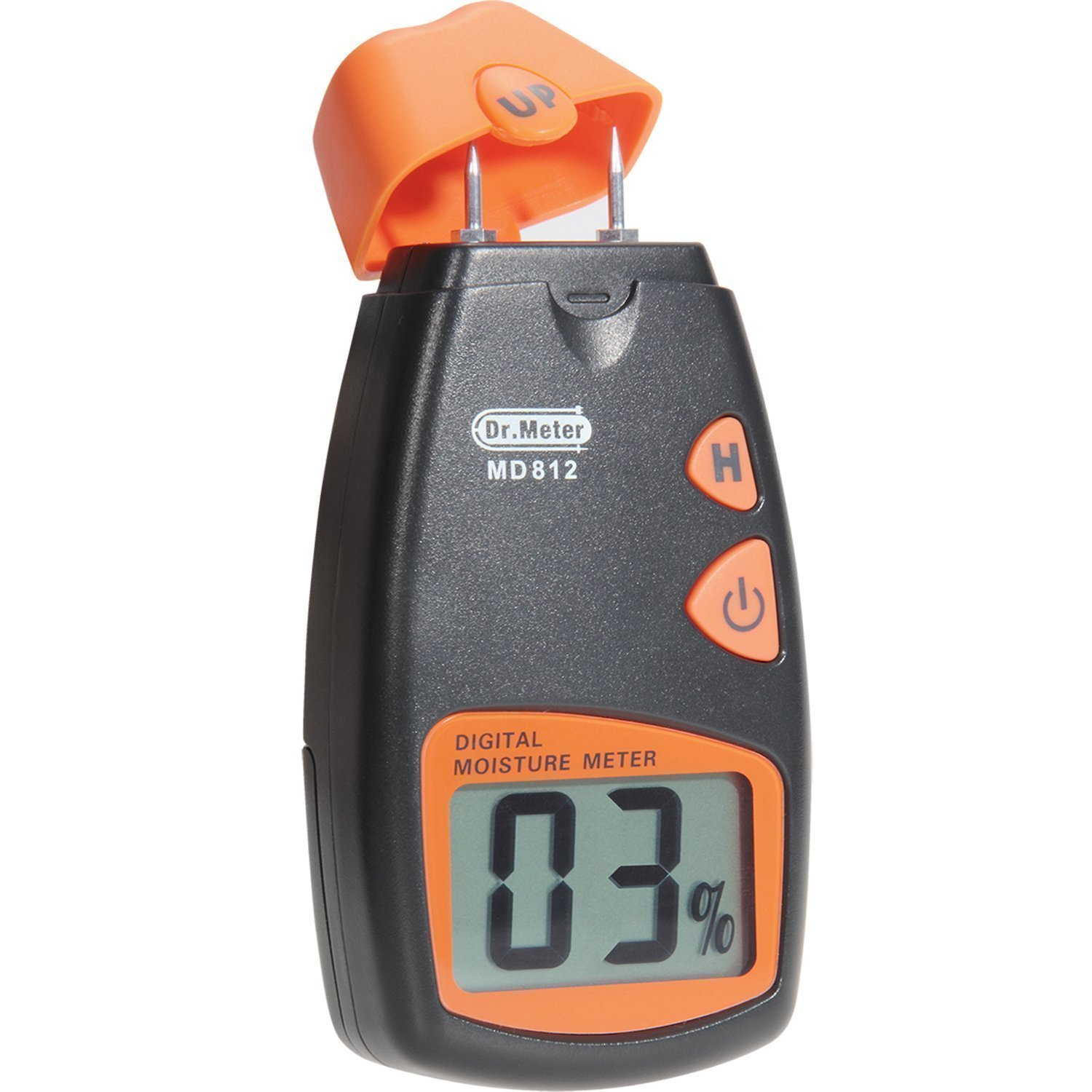 Wood Moisture Meter, Dr.meter Digital Portable Wood Water Moisture Tester, Digital LCD Display with 2 Spare Sensor Pins and one 9V Battery(Both Included) Range 5% - 40%, Accuracy: +/-1%, MD812