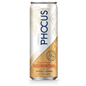 Phocus Caffeinated Sparkling Water, Blood Orange, 11.5 ounces, 12-Pack