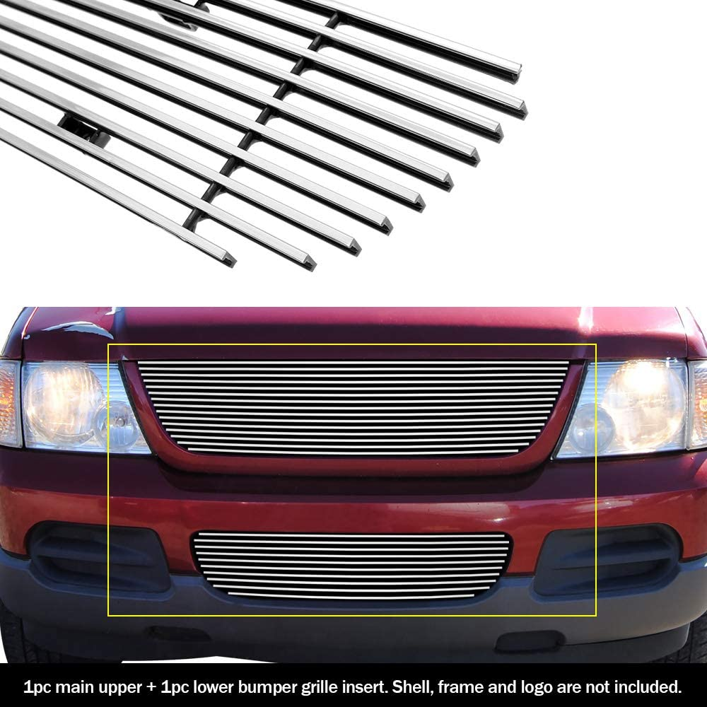 APS Compatible with 2002-2005 Ford Explorer Billet Grille Combo Upper+Bumper S18-A98978F