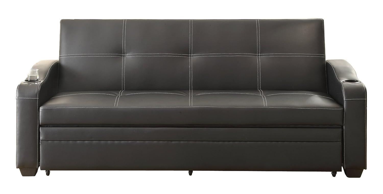 Amazon com homelegance 4838 convertible adjustable sofa bed black bi cast vinyl kitchen dining