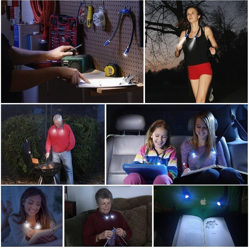 LUXJET LED Book Lights Rechargeable Neck Lamp for Reading at Night, Hands Free, 4 LED Bulbs, 3 Adjustable Brightness