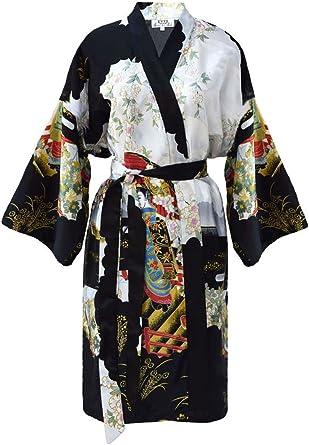 Womens Black Geisha Kimono Robe Size Xl Xxl 44 46 Amazon Co Uk Clothing