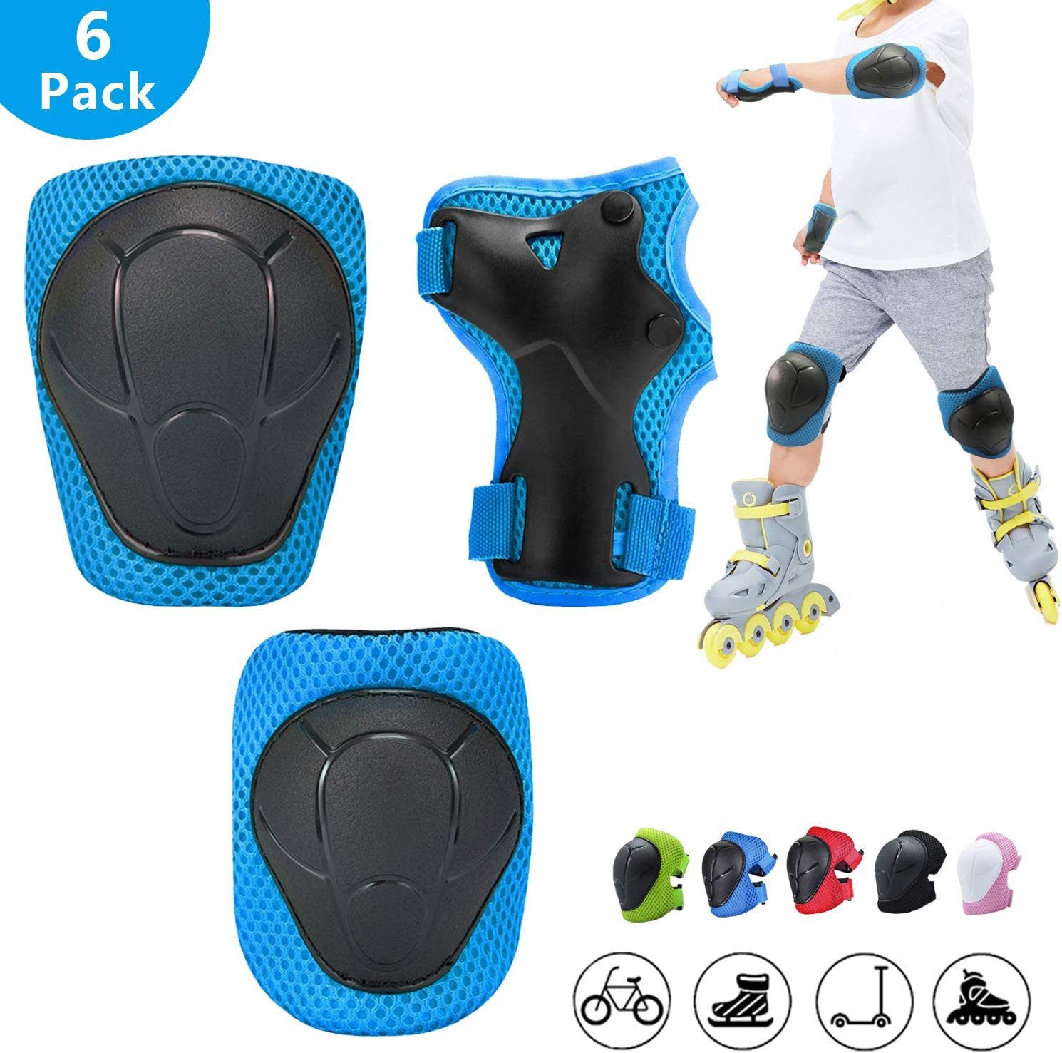 Knee Pads for Kids,Kids Protective Gear Set with Child Kids Knee and Elbow Pads & Wrist Guards 3 in 1 for Biking Skateboard Scooter Rollerblading Skating Cycling[Upgraded Version 3.0]