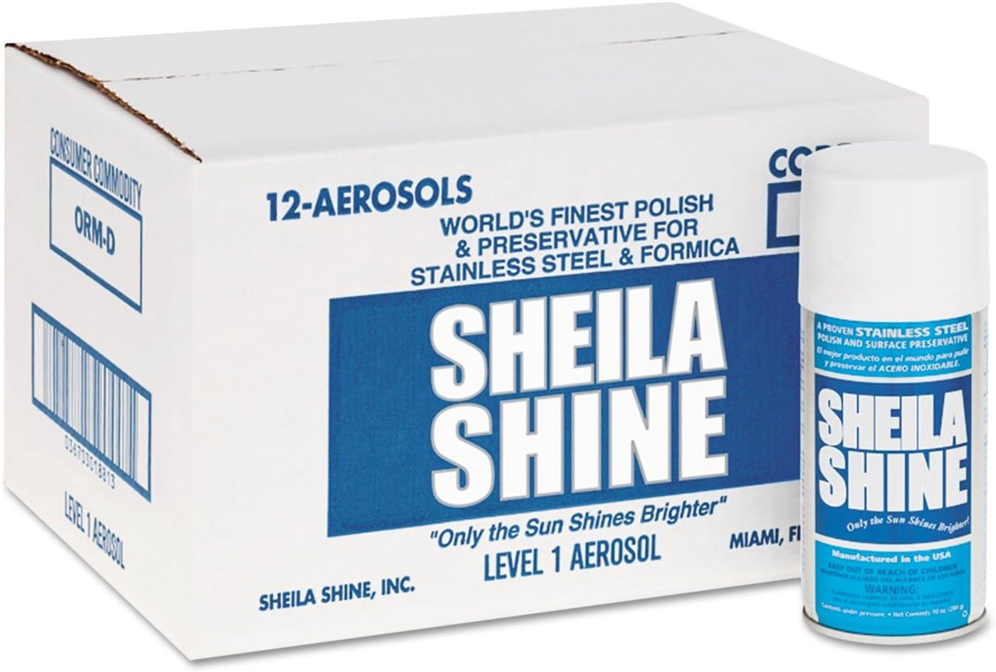 Sheila Shine Stainless Steel Cleaner & Polish, 10 oz. Aerosol Can, 12/Carton