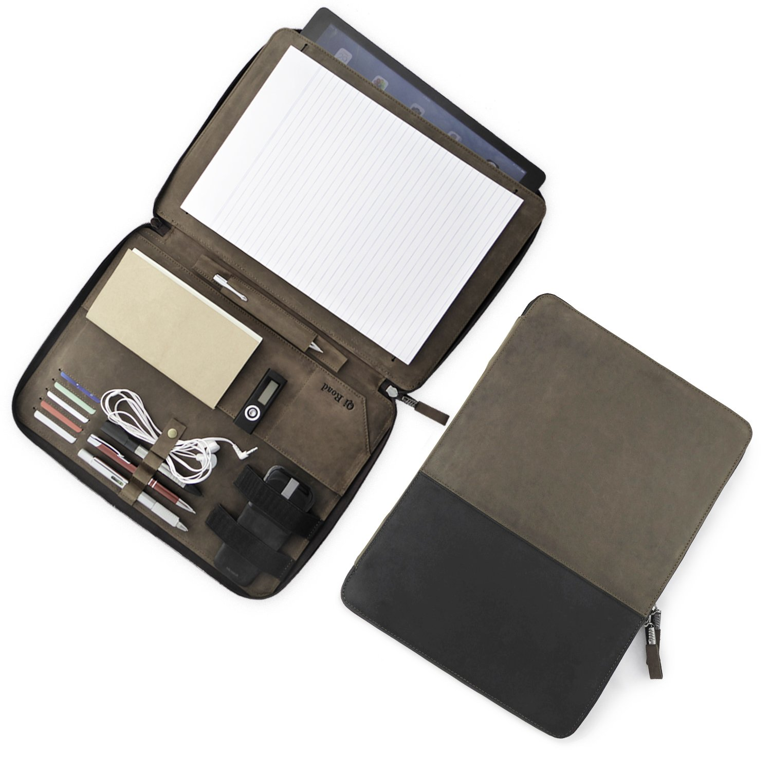 Leather Portfolio | Zippered Professional Business Document Organizer | Padfolio Case | Fits 13 Inch Tablet | Right & Left Handed Folder For Men & Women | Qi Road