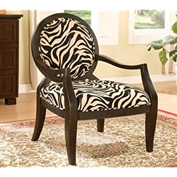 Etonnant ADF Accent Chair With Zebra Print In Black Finish
