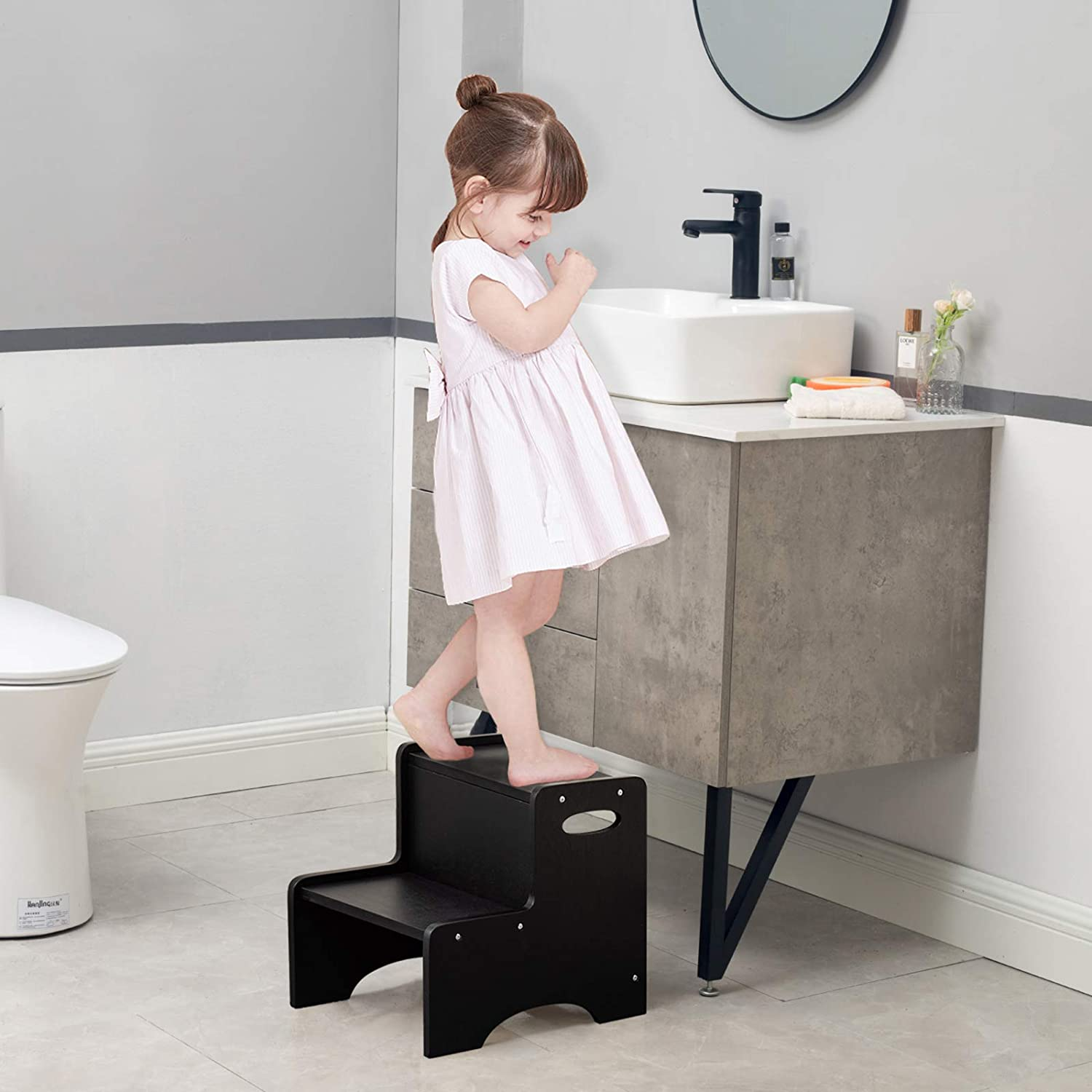 WOOD CITY Step Stool for Kids, Wooden Toddler Step Stool with Safety Non-Slip Mats and Handles, 2 Step Stool for Kitchen, Bathroom Sink & Potty Training - Black : Baby