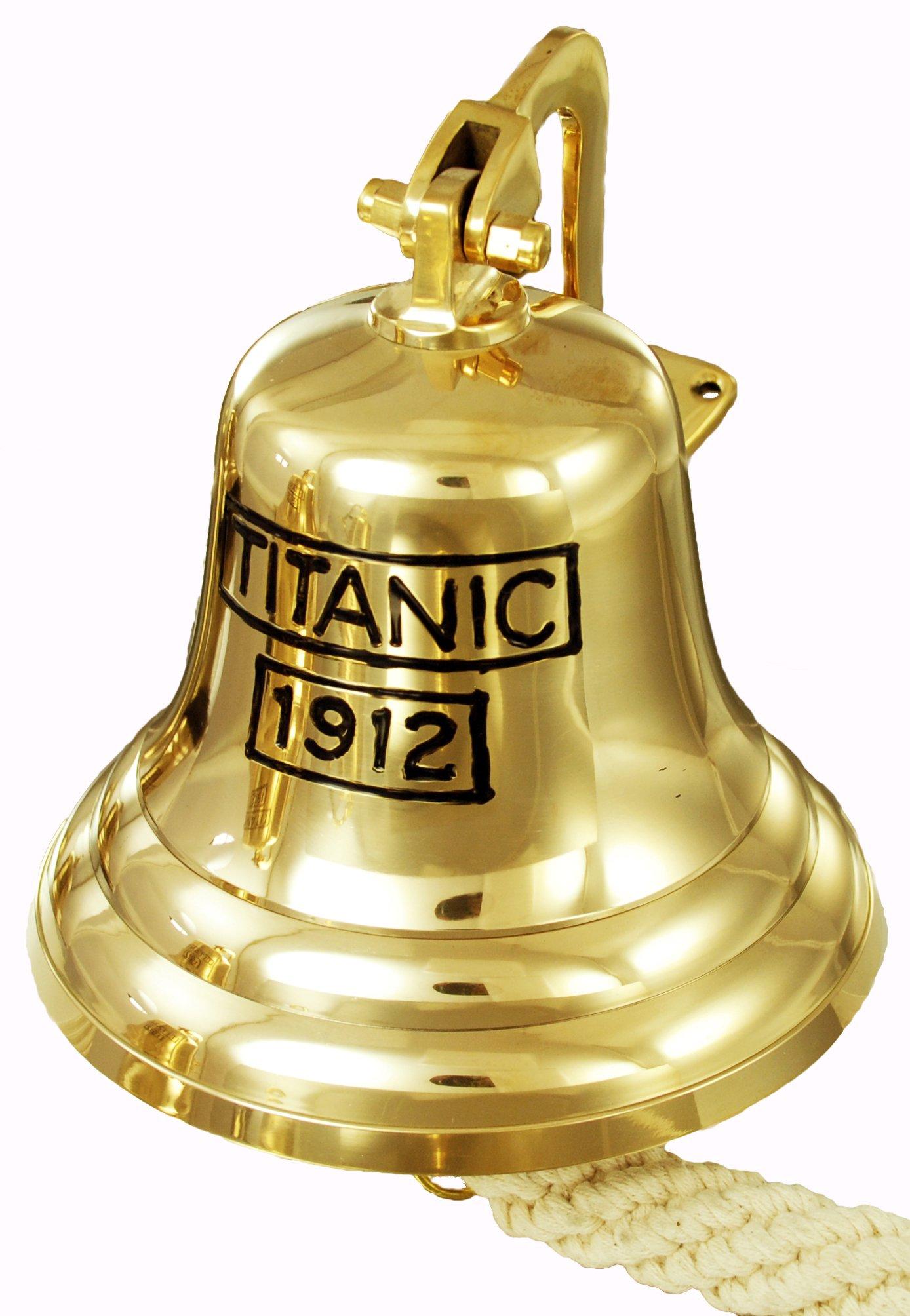 Buckingham Solid Brass Titanic 1912 Ship, Last Orders, Pub, Door, Wall Mountable Bell 8'' / 20 cm, Gold