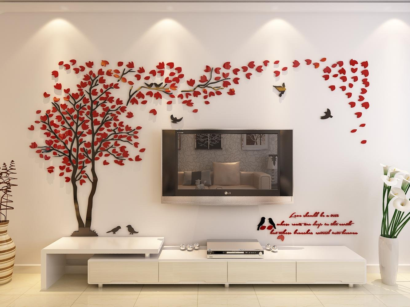 3d Couple Tree Wall Murals for Living Room Bedroom Sofa Backdrop Tv Wall Background, Originality Stickers Gift, DIY Wall Decal Home Decor Art Decorations (Large, Red) by Hermione Baby (Image #2)