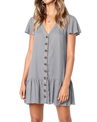 6aa071d53d YONYWA Women Button Down Dresses Ruffle Short Sleeve V Neck Loose Fit Mini  Dress Grey