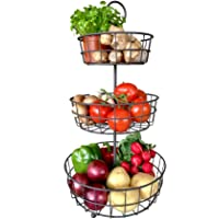 3 Tier Fruit Basket - Fresh Country Wire Basket by Regal Trunk & Co. | Three Tier Fruit Basket Stand for Storing & Organizing Vegetables, Eggs, and More | Fruit Basket for Counter or Hanging (3 Tier)