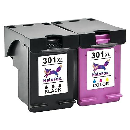 HaloFox 2 Cartuchos de Tinta Remanufacturados 301XL Negro y Tri-color 301 XL Reemplazar para HP DeskJet 1050 1510 2050 2540 2543 2544 3050 OfficeJet ...