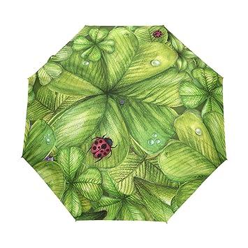 ALAZA - Paraguas de viaje para mujer y hombre con diseño de mariquita en trébol de