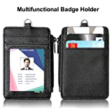 "Badge Holder with Zipper,LongSky Slim PU Leather ID Badge Holder Card Wallet Case with 5 Card Slots, 1 Side Zipper Pocket and 1 Durable Soft 18.1"" Neck Lanyard for Offices ID,School ID, Credit"