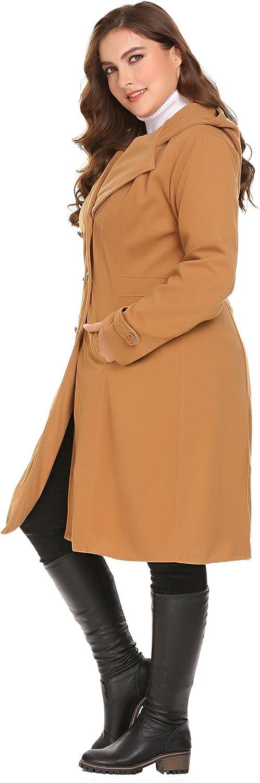 16W-24W Zeagoo Women Plus Size Double Breasted Wool Elegant Long Lined Lightweight Trench Coat