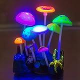 Aquarium Decorations,Govine Glowing Effect Artificial Mushroom for Fish Tank Decoration Plastic Aquarium Ornament