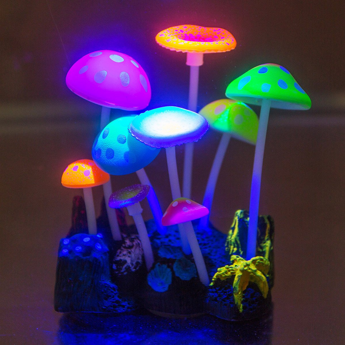 New aquarium ornament luminous glowing mushrooms fish tank for Aquarium decoration ornaments