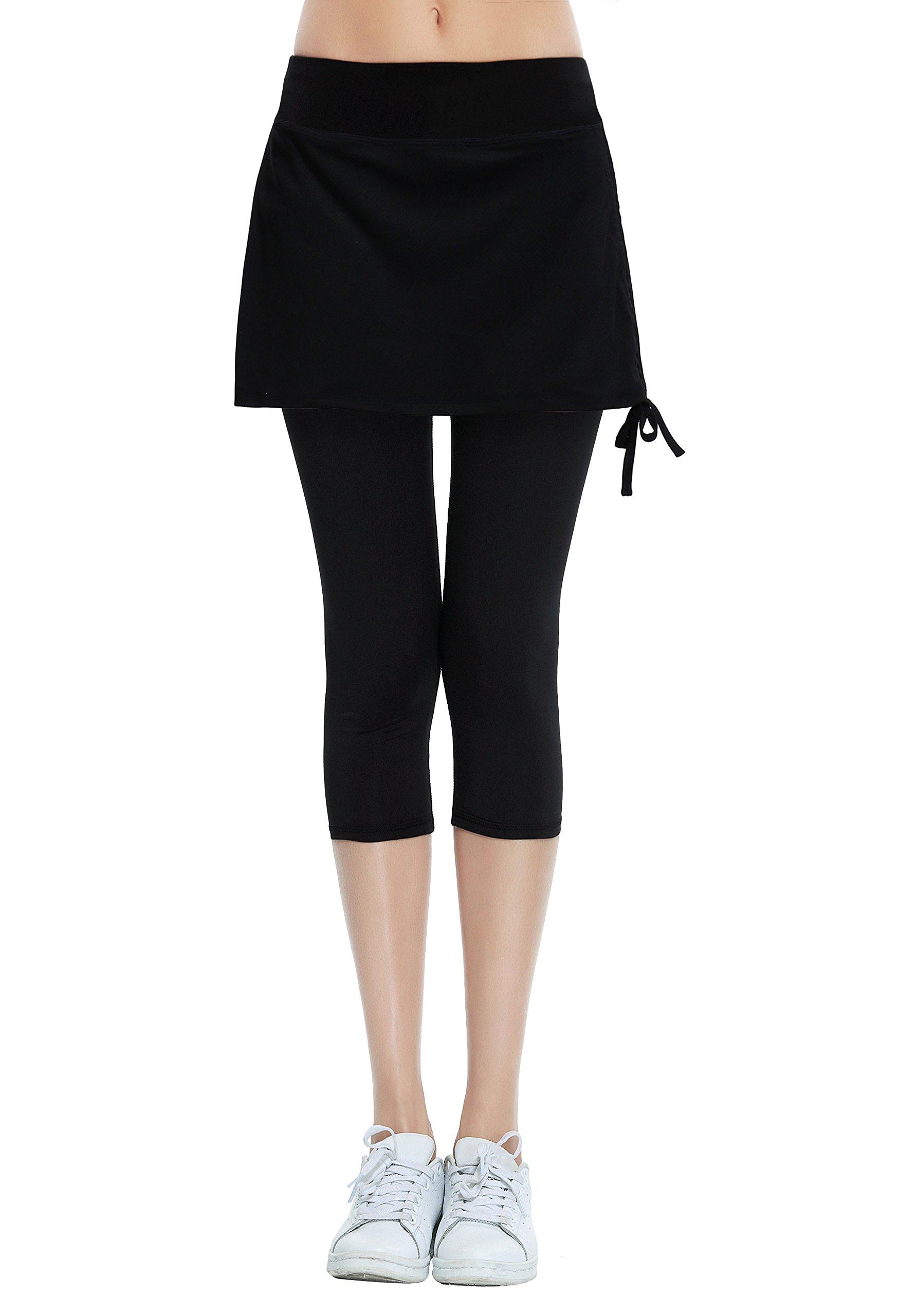 HonourSport Women's Cropped Leggings Side Drawstring Running Capri Skirt(Black,XL)