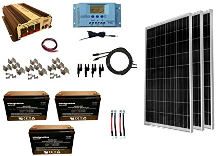 WindyNation 300 Watt (3pcs 100W) Solar Panel Kit + 1500 Watt VertaMax Power  Inverter + AGM Battery Bank for RV, Boat, Cabin, Off-Grid 12 Volt Battery