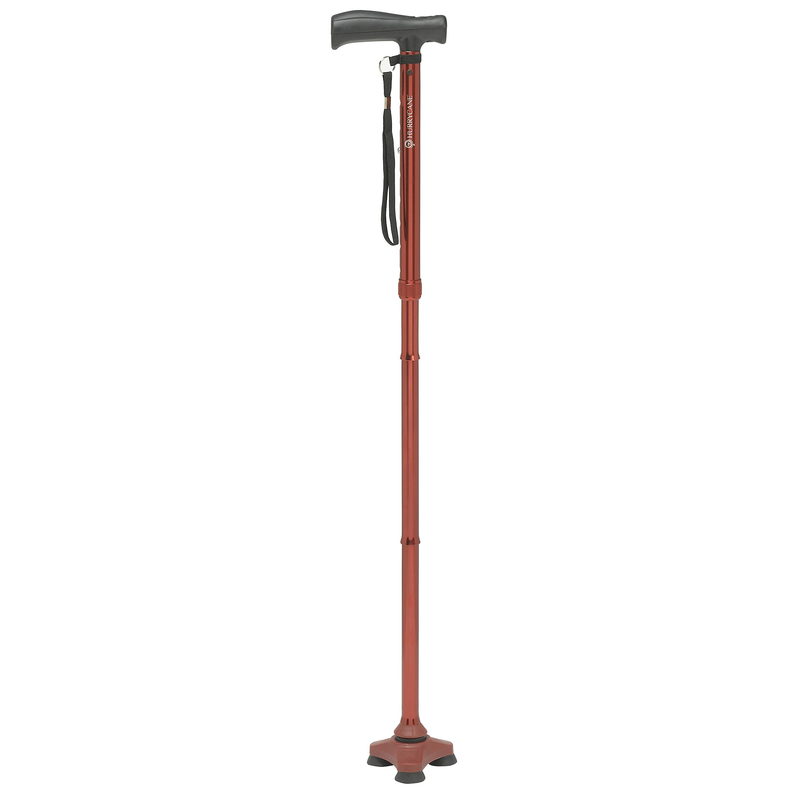 HurryCane Freedom Edition Folding Cane with T Handle, Roadrunner Red