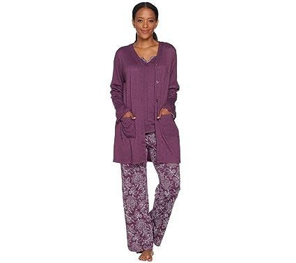c0489f334 Carole Hochman Tall Floral Paisley Interlock 3-PC Lounge Set Plum XL New  A294065: Amazon.co.uk: Clothing