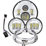 7 inch Daymaker LED Headlight DOT Kit Set Fog Passing Lights Ring for Harley Davidson Ultra Classic Electra Street Glide Tri Cvo Road King Heritage Softail Deluxe Fatboy Motorcycle Headlamps Chrome