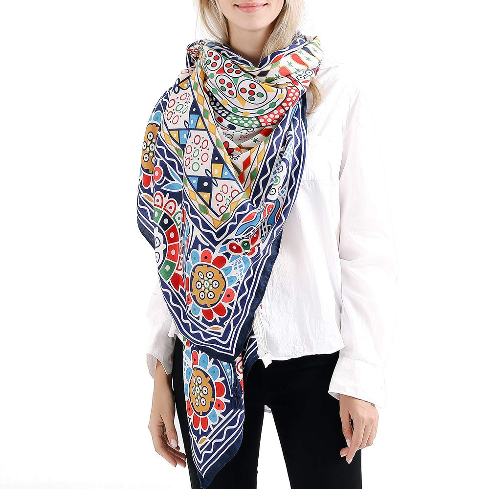 14 VISAER Womens 100% Twilled Cotton Fleeing Long Fashion Designer Scarf Travel Pashmina Tassel Bohemia Shawl Wrap