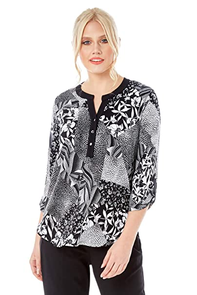 a04f0ce39c7ce Roman Originals Women Patchwork Notch Neck Top - Ladies Casual Work Office  Everyday Floral Print V-Neck 3 4 Length Sleeve Jersey Shirt Blouse Tops  ...