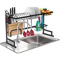 Sorbus Over-The-Sink Dish Drying Display Rack Stand, Draining Rack Sink Organizer with Utensil Holder Hooks for Kitchen Counter Storage Organizer for Dishes, Utensils, etc