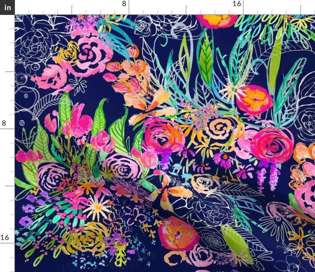 Spoonflower Fabric - Neon Night Garden Flowers Teacup Floral Bright Print Navy Colorful Printed on Upholstery Velvet Fabric by The Yard - Upholstery Home Decor Bottomweight Apparel