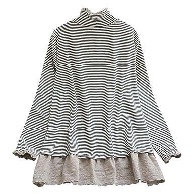 Camiseta Basica Mujer Casual Cuello Alto Encaje Rayas Tops Primavera Blusa Fiesta Carnaval Camisa Elegantes Oficina Suelto Verano Comuniones Vestidos riou: ...