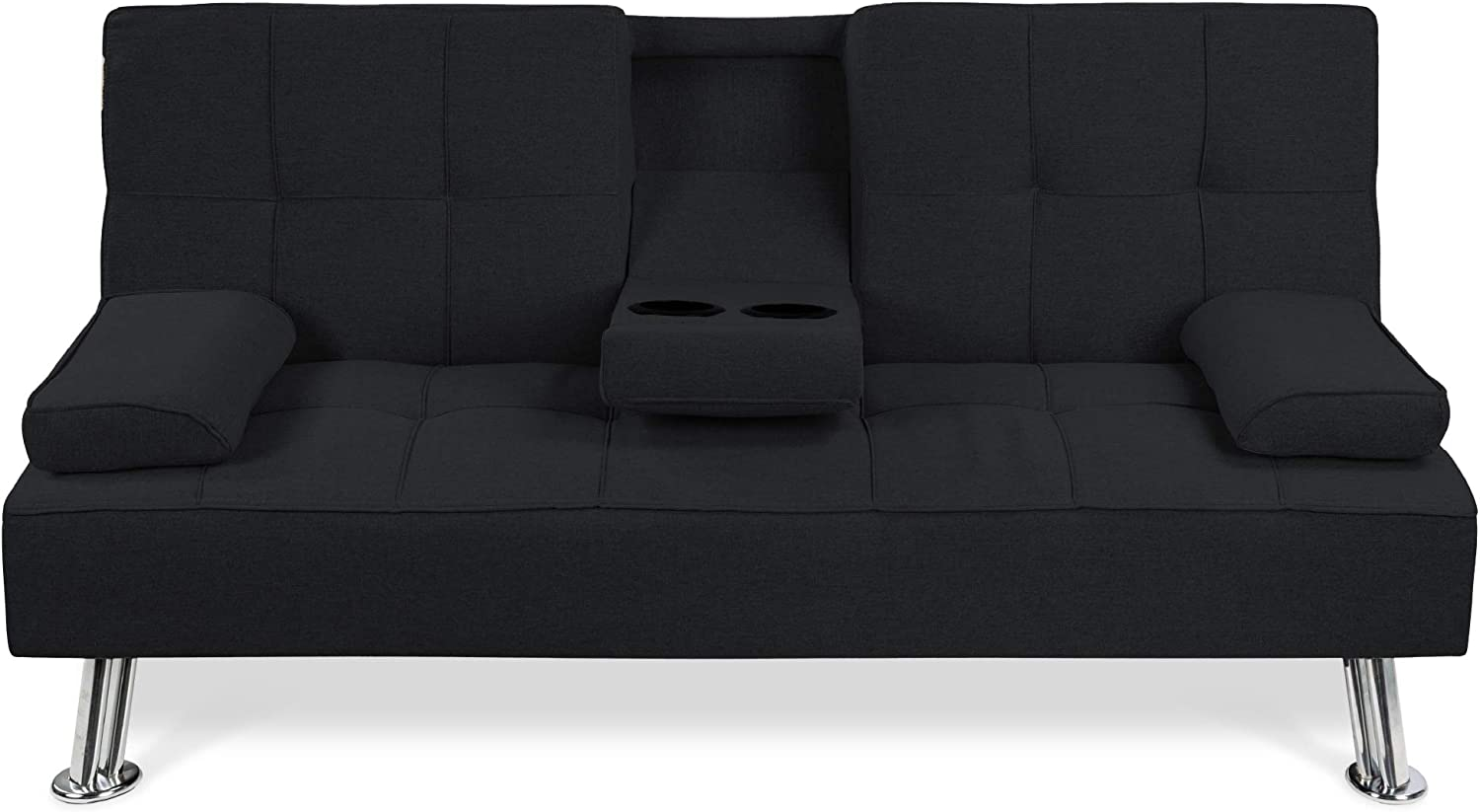 Best Choice Products Linen Upholstered Modern Convertible Folding Futon Sofa Bed w/Removable Armrests, Metal Legs, 2 Cupholders - Black