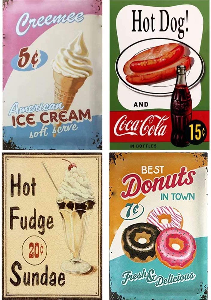 FlowerBeads Old Metal Signs Personalized Plaques, Coffee Shop Metal Painting Bar Cafe Metal Poster (4PCS 20X30cm)