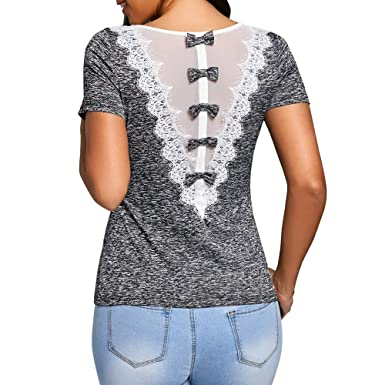 HGWXX7 Womens Fashion Back Bowknot Lace O-Neck Short Sleeve Tops Blouse T-Shirt