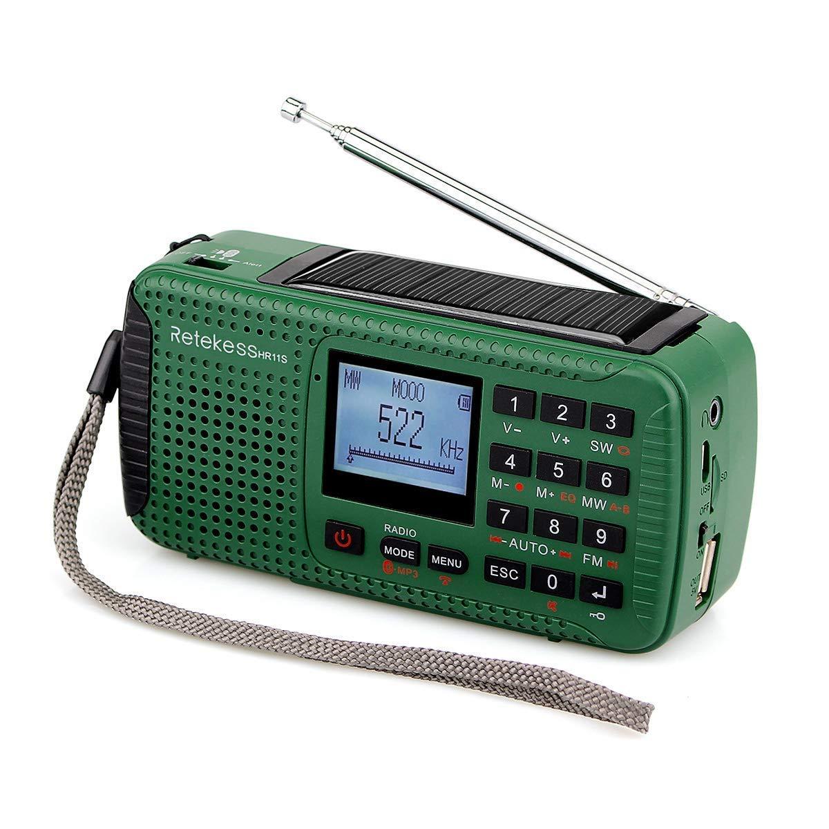 Retekess HR11S Portable Emergency Radio Crank AM FM Radio Shortwave with MP3 Player Digital Recorder Red SOS Power Bank Wind Up Camping Radio(Green)
