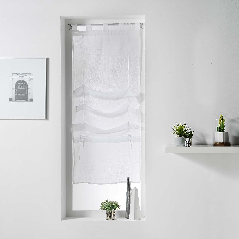 LINGE DES DOMES CDaffaires Store Droit a Passants 45 x 180 cm Voile tisse Jaimie Blanc