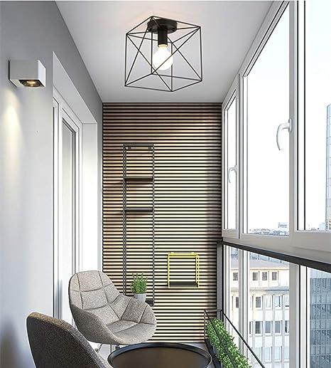 Ruxue Industrial Modern Semi Flush Mount Ceiling Light Square Cage Black For Hallway Closet Diameter 20cm Amazon Com
