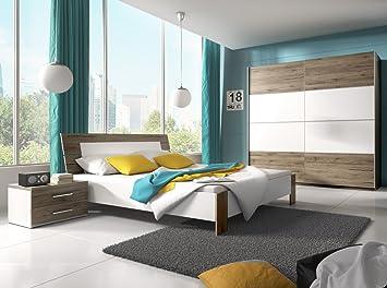 Dreams4home Schlafzimmer Set Rico Schwebetürenschrank 2x Nakos