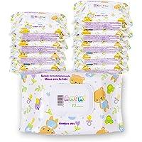 AMOMI Toallitas humedas compactas para Bebé y viajes, 7 Paquetes 504 Unidades, Toallitas húmedas Bebé, con Tapa, Testado…