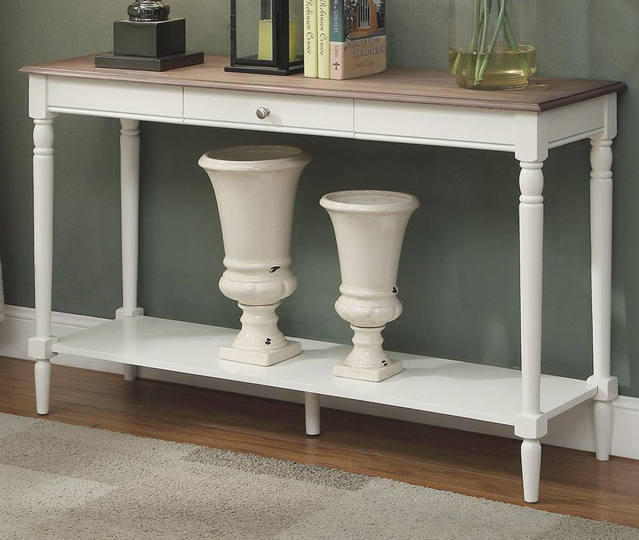Convenience Concepts 6042187SDFTW French Country Console Table with Drawer and Shelf, Driftwood