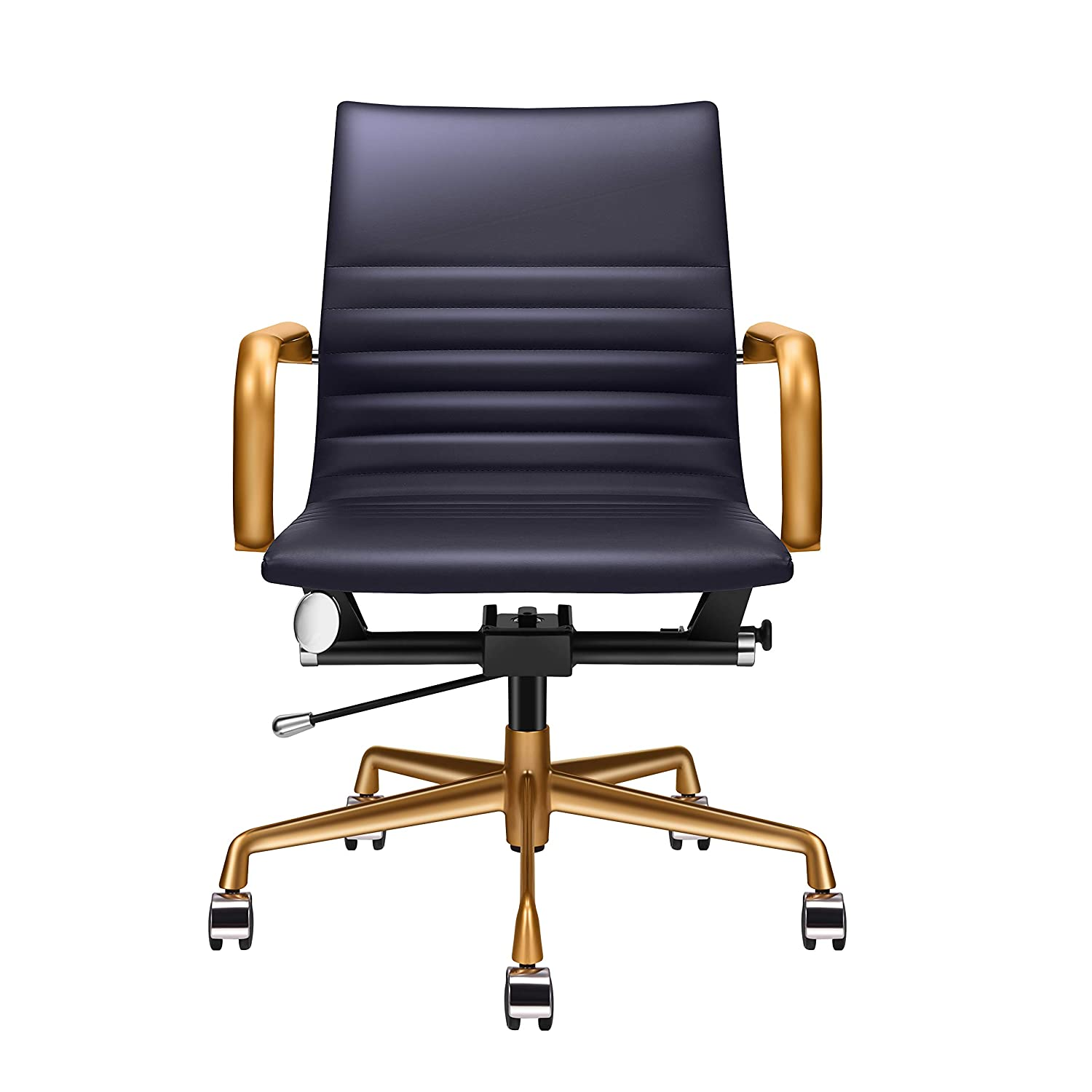 Awesome Amazon Com Luxmod Mid Back Office Chair With Gold Armrest Ibusinesslaw Wood Chair Design Ideas Ibusinesslaworg