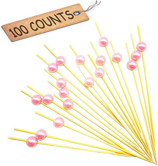 Pink Pearls PuTwo Cocktail Toothpicks 100 Counts Cocktail Picks Handmade Natural Bamboo Cocktail Sticks Eco-Friendly Appetizer Skewers for Cocktail Appetizers Fruits Dessert