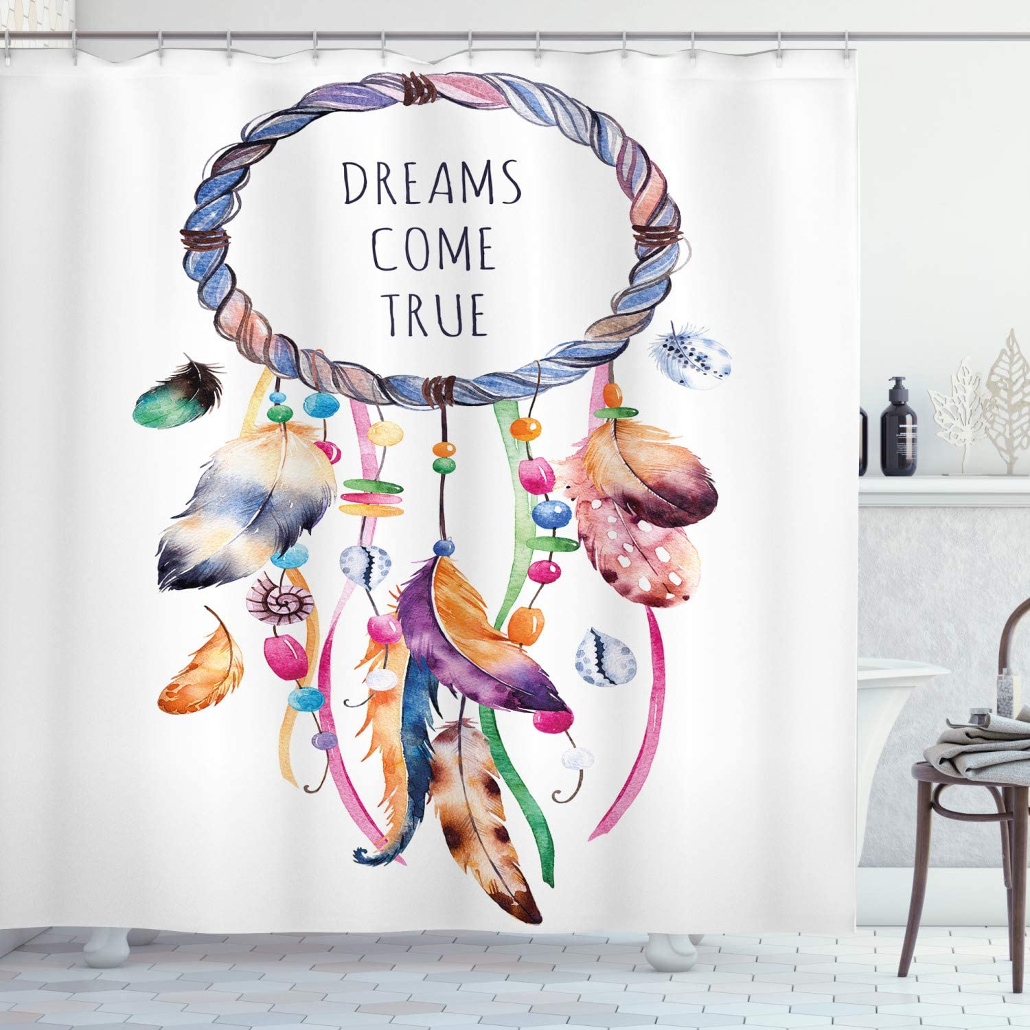 "Ambesonne Feather Shower Curtain, Dream Catcher Illustration Bohemian Style Image, Cloth Fabric Bathroom Decor Set with Hooks, 70"" Long, Blue White"