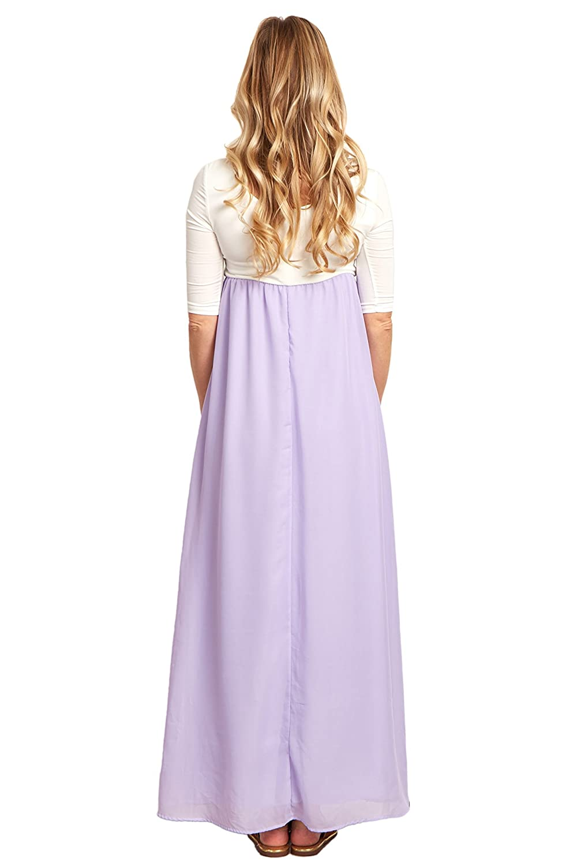 29999e11bd9b PinkBlush Maternity Lavender Chiffon Colorblock Maternity Maxi Dress, Small  at Amazon Women's Clothing store: