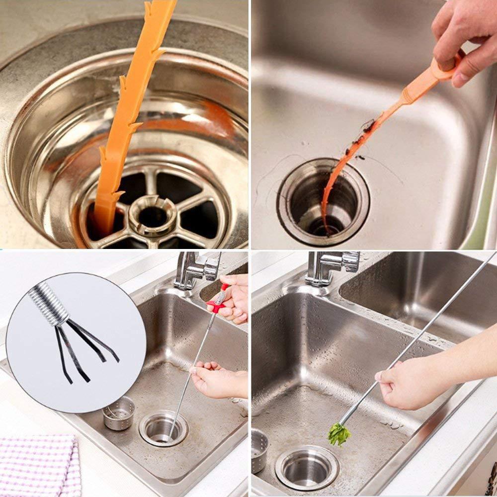 1 sonde spirale + 5 outils de d/ébouchage de canalisation douche Lot de 6/outils de nettoyage et d/évacuation pour /évier de cuisine baignoire - Vipith